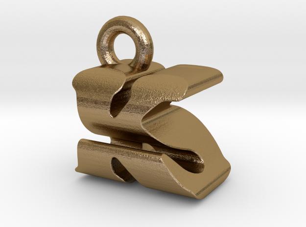 3D Monogram Pendant - KSF1 in Polished Gold Steel