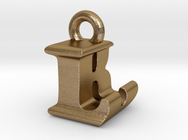 3D Monogram Pendant - LBF1 in Polished Gold Steel