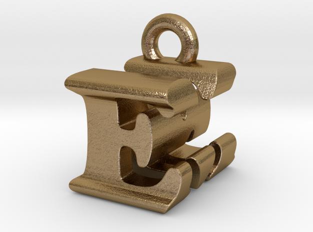 3D Monogram Pendant - EMF1 in Polished Gold Steel