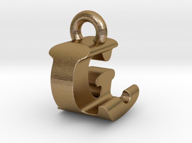3D Monogram Pendant - LGF1 in Polished Gold Steel