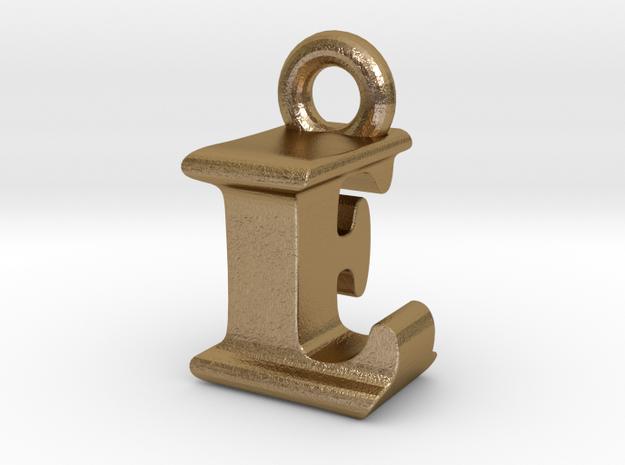 3D Monogram Pendant - LFF1 in Polished Gold Steel