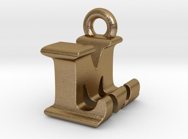 3D Monogram Pendant - LMF1 in Polished Gold Steel