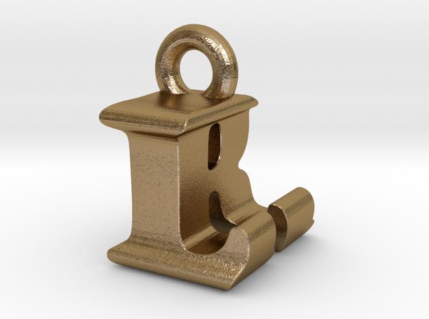3D Monogram Pendant - LRF1 in Polished Gold Steel