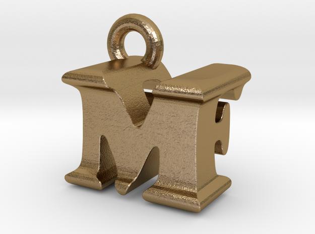 3D Monogram Pendant - MFF1 in Polished Gold Steel