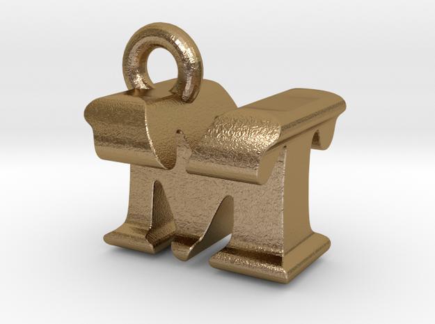 3D Monogram Pendant - MTF1 in Polished Gold Steel