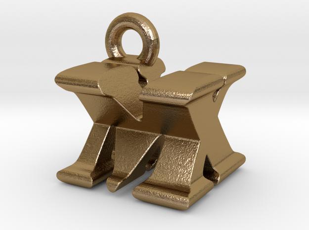 3D Monogram Pendant - MXF1 in Polished Gold Steel