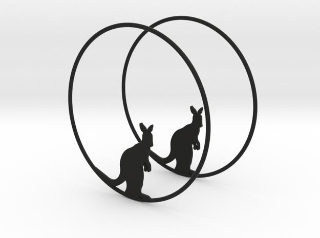 Kangaroo Hoop Earrings 60mm in Black Natural Versatile Plastic