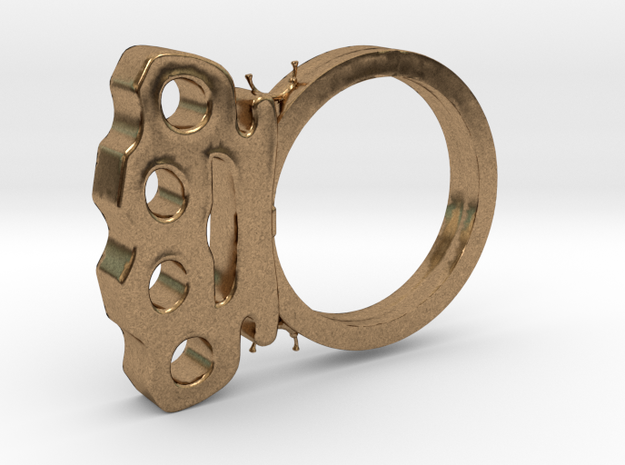 Brass Knuckles Ring in Natural Brass