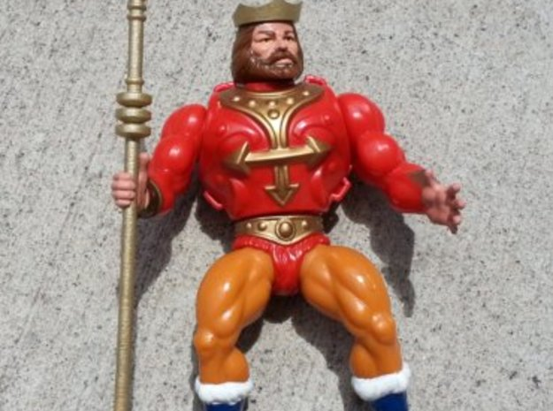 Replacement crown and spear for 1980s King Randor in White Processed Versatile Plastic