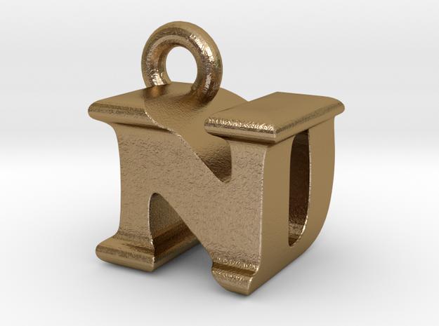 3D Monogram Pendant - NDF1 in Polished Gold Steel