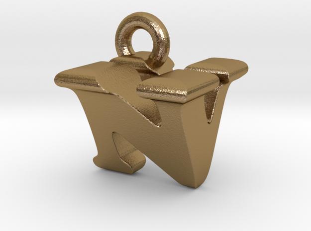 3D Monogram Pendant - NVF1 in Polished Gold Steel