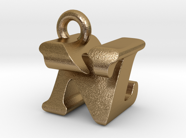 3D Monogram Pendant - NZF1 in Polished Gold Steel