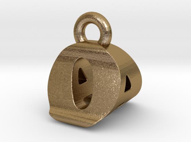 3D Monogram Pendant - OAF1 in Polished Gold Steel