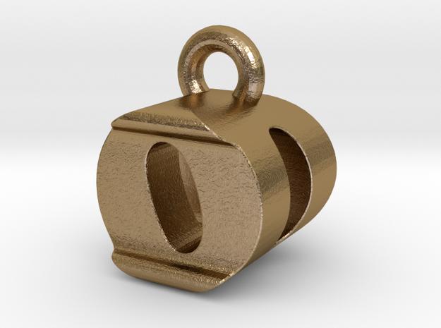 3D Monogram Pendant - ODF1 in Polished Gold Steel