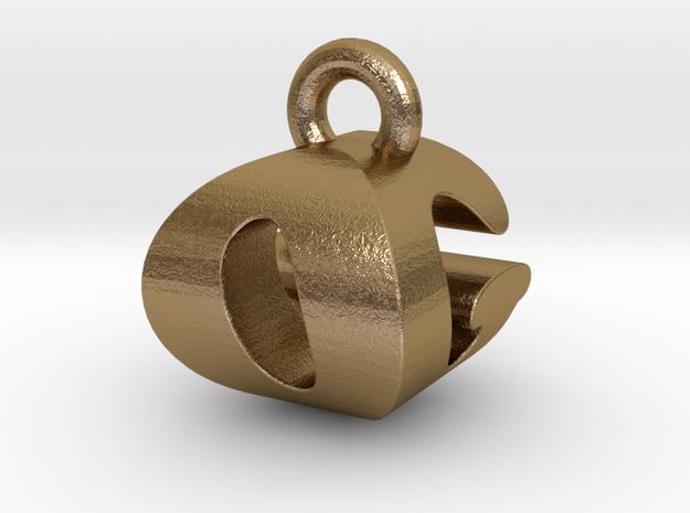3D Monogram Pendant - OGF1 in Polished Gold Steel