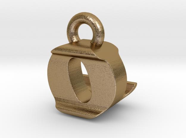 3D Monogram Pendant - OLF1 in Polished Gold Steel