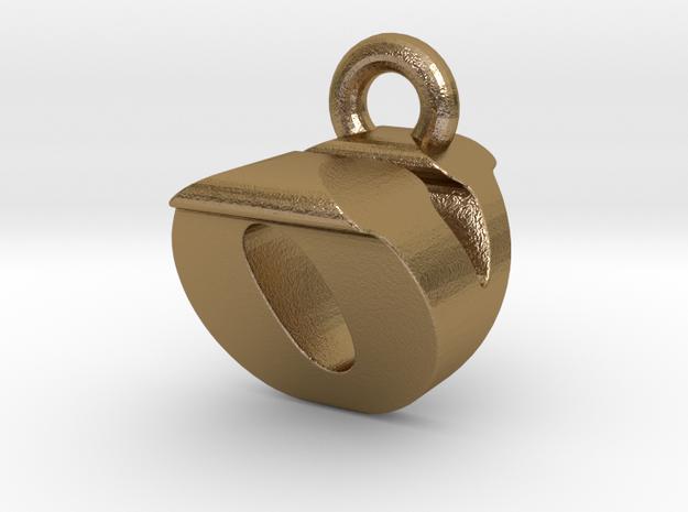 3D Monogram Pendant - OVF1 in Polished Gold Steel