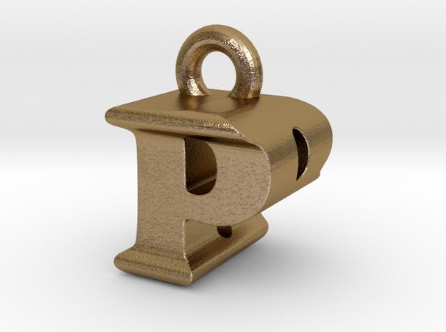 3D Monogram Pendant - PBF1 in Polished Gold Steel
