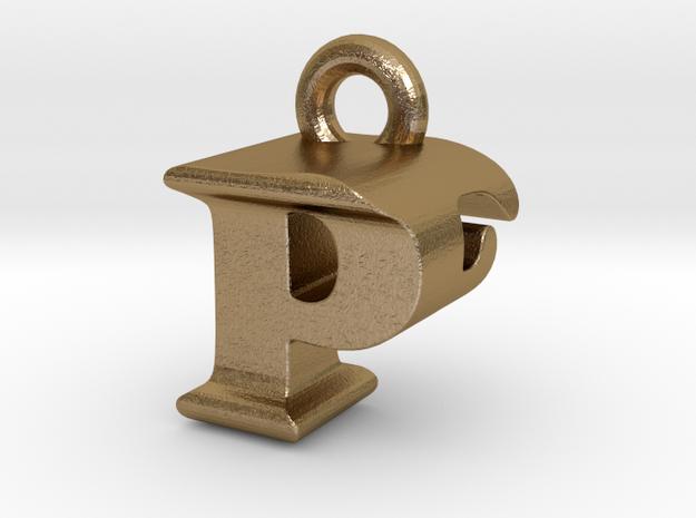 3D Monogram Pendant - PFF1 in Polished Gold Steel