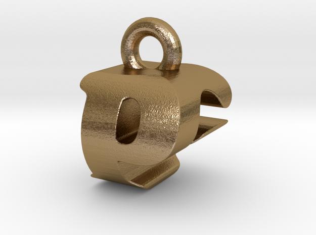 3D Monogram Pendant - PGF1 in Polished Gold Steel
