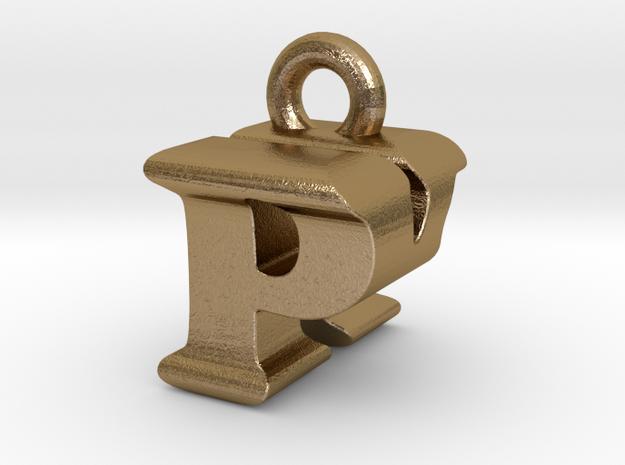 3D Monogram Pendant - PKF1 in Polished Gold Steel