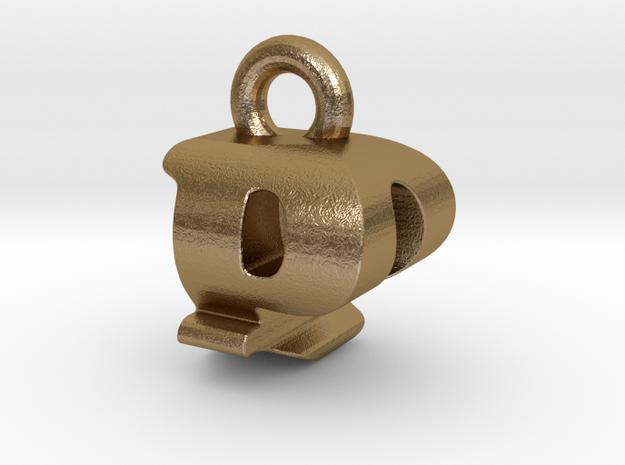 3D Monogram Pendant - PQF1 in Polished Gold Steel