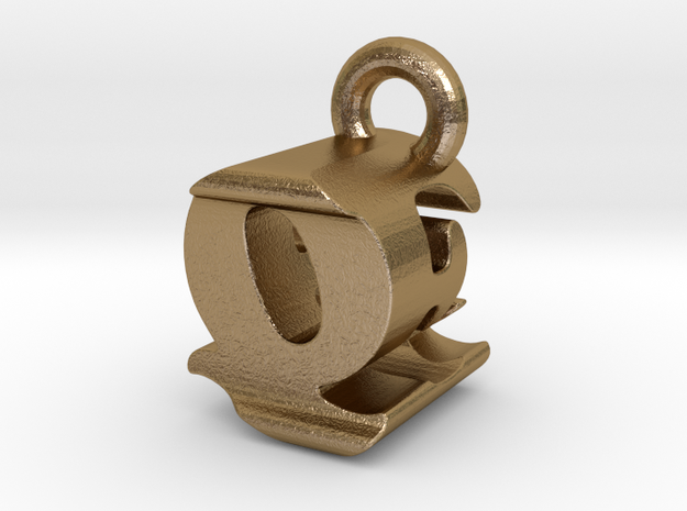 3D Monogram - QEF1 in Polished Gold Steel