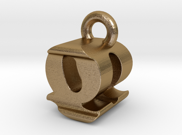 3D Monogram - QDF1 in Polished Gold Steel