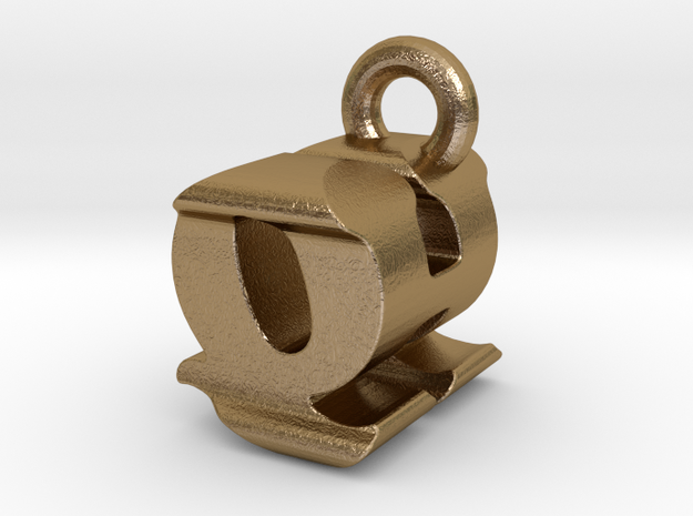 3D Monogram - QHF1 in Polished Gold Steel