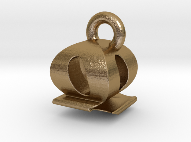3D Monogram - QQF1 in Polished Gold Steel