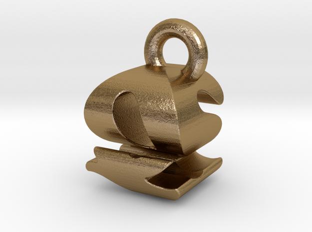 3D Monogram - QSF1 in Polished Gold Steel