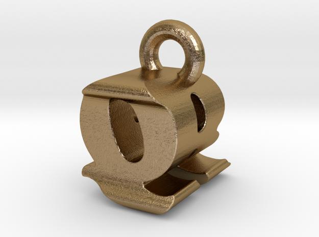3D Monogram - QRF1 in Polished Gold Steel