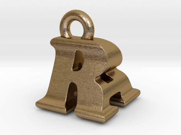 3D Monogram - RAF1 in Polished Gold Steel