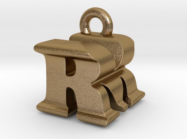 3D Monogram - RMF1 in Polished Gold Steel
