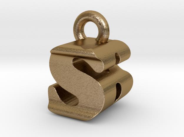 3D Monogram - SBF1 in Polished Gold Steel