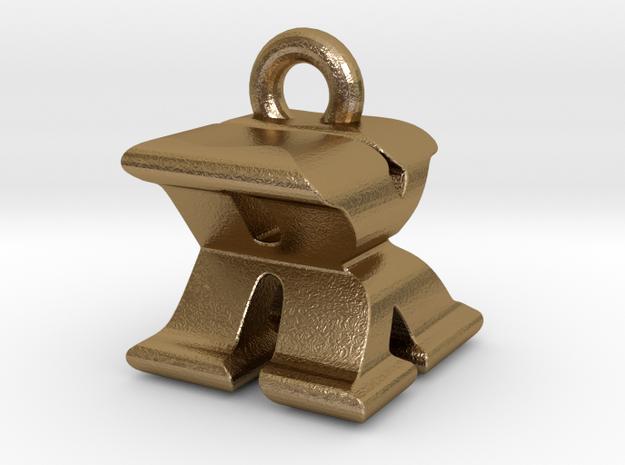 3D Monogram - RXF1 in Polished Gold Steel