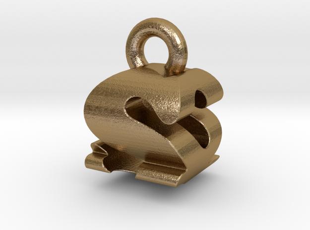 3D Monogram - SQF1 in Polished Gold Steel