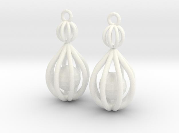Cage Drop Earrings in White Processed Versatile Plastic