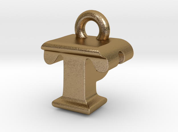 3D Monogram - TPF1 in Polished Gold Steel