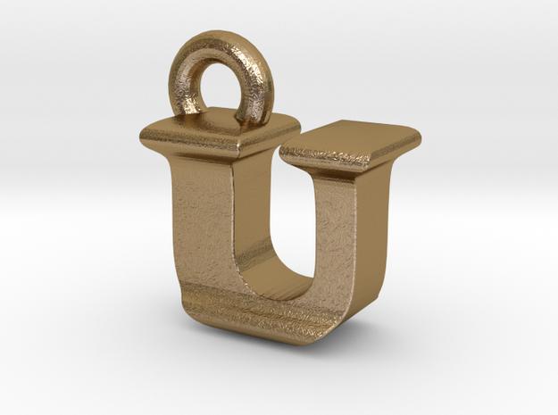 3D Monogram - UIF1 in Polished Gold Steel