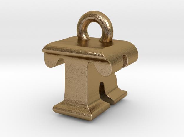 3D Monogram - TRF1 in Polished Gold Steel