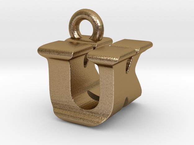 3D Monogram - UKF1 in Polished Gold Steel