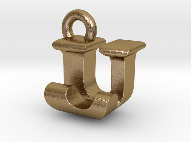 3D Monogram - UJF1 in Polished Gold Steel