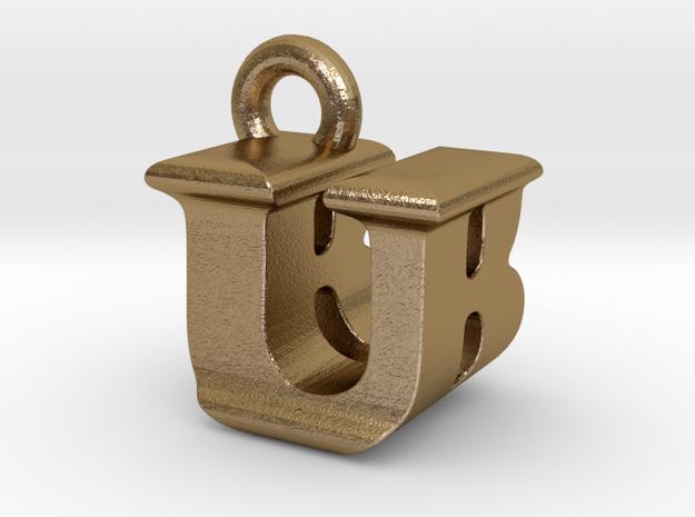 3D Monogram - UBF1 in Polished Gold Steel