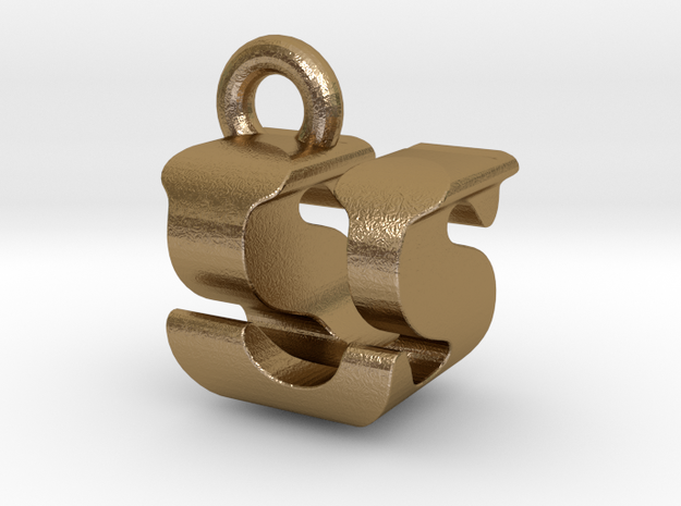 3D Monogram - USF1 in Polished Gold Steel
