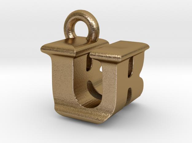 3D Monogram - URF1 in Polished Gold Steel