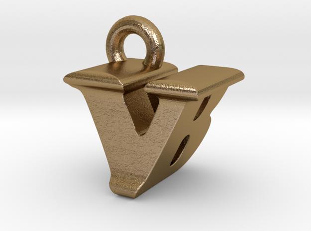 3D Monogram - VBF1 in Polished Gold Steel