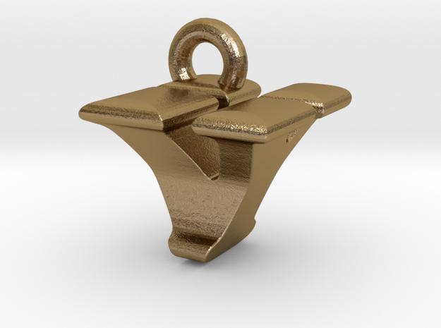 3D Monogram - VYF1 in Polished Gold Steel