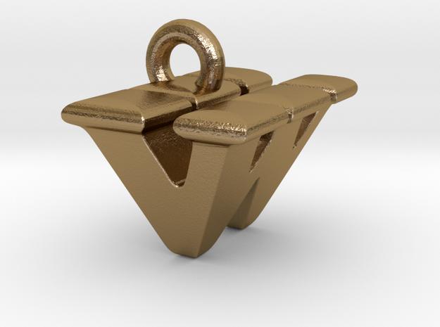 3D Monogram - VWF1 in Polished Gold Steel