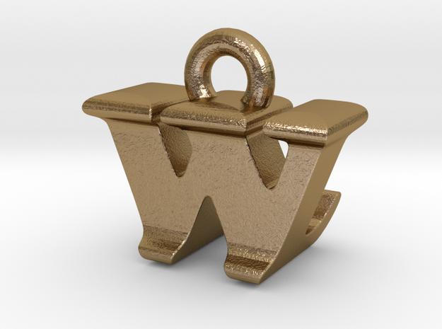 3D Monogram - WLF1 in Polished Gold Steel